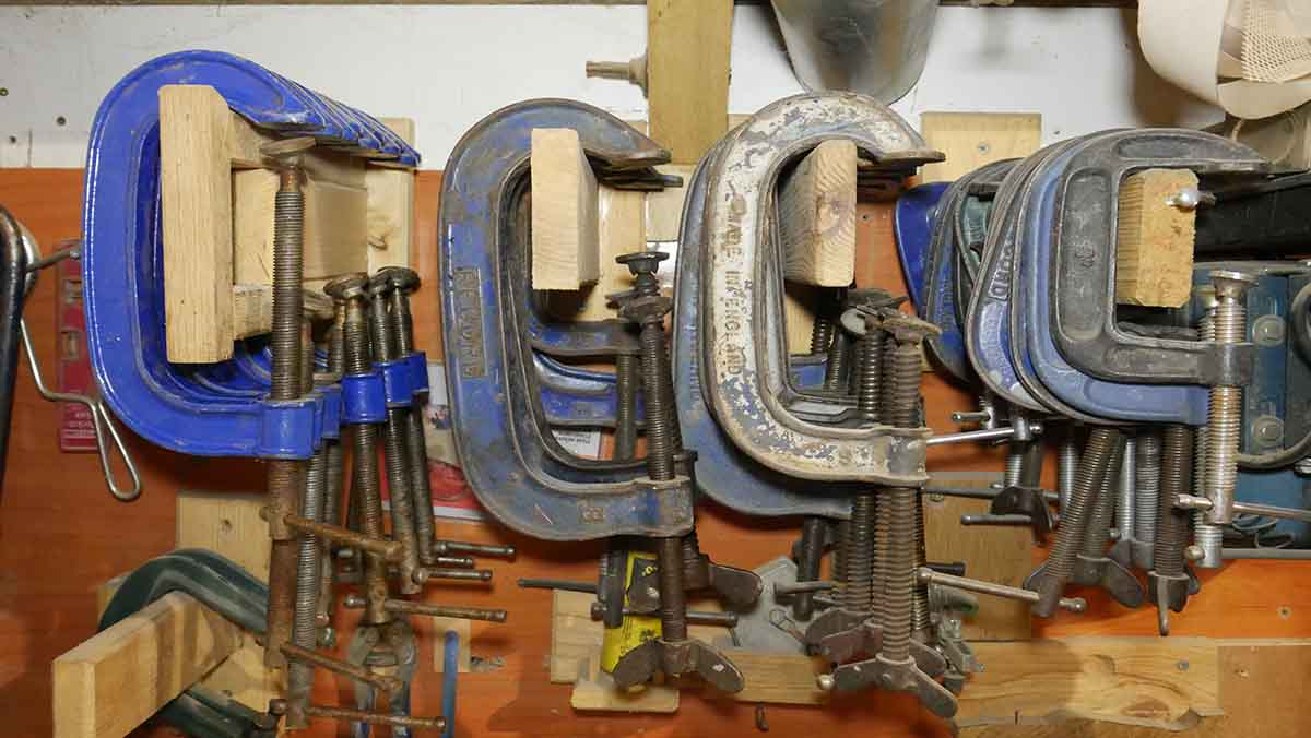 g clamp and c clamps storage for the wood shop