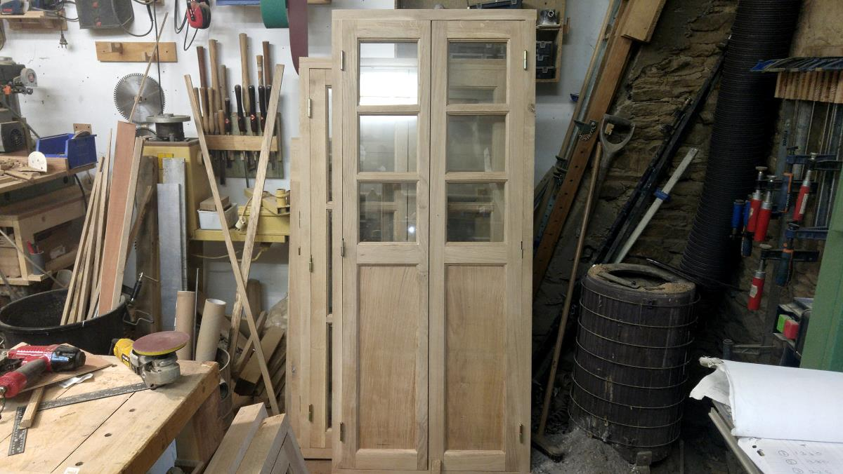 french doors with panel, made in french oak