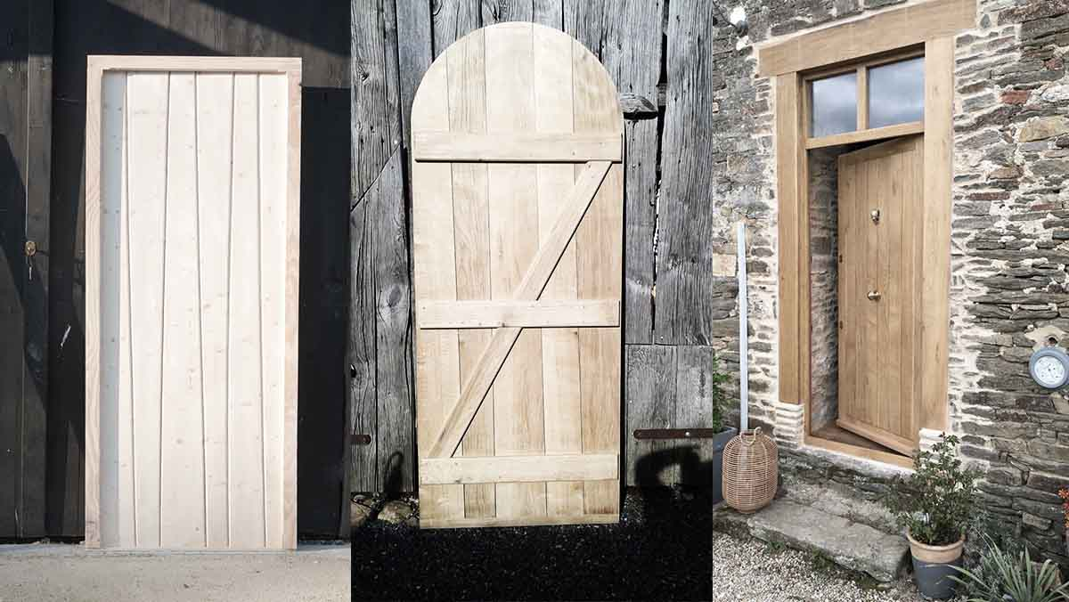 three wooden doors for door hanging tutorial