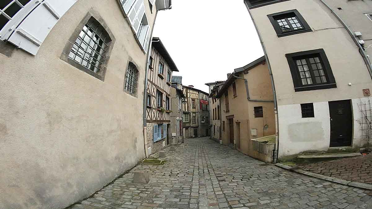 limoges city street haute vienne nouvelle aquitaine with shutters volets