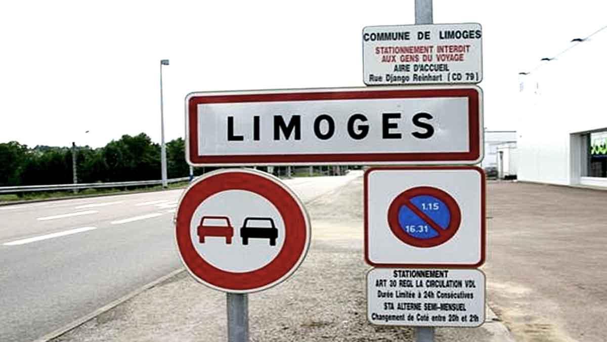 limoges panneau road sign