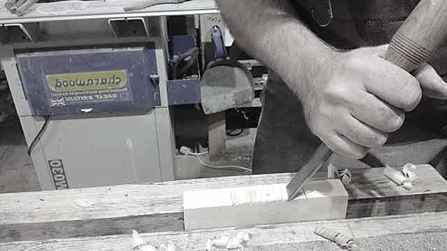 hinge slot, mallet and chisel