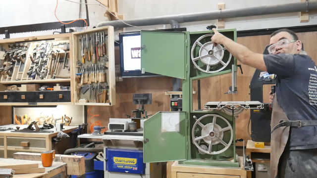 two wheel bandsaw with open doors